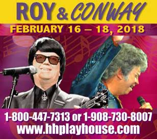 Join us at the Hunterdon Hills Playhouse on Feb 16 through Feb 18 for a celebration of Roy Orbison and Conway Twitty. Since his first gig at the Tropicana in Atlantic City, Brian McCullough has performed onstage throughout the USA as well as up and down the Eastern seaboard. His latest tribute act, Roy And Conway, features Brian as BOTH legendary performers Roy Orbison and Conway Twitty. Backed by the sensational Joey Pucci and The American Longboards, this unforgettable show is filled with classic hits that are a little bit Country and a little bit Rock ?n? Roll! Ticket price of $74.50 includes show, entrée, dessert buffet, hot coffee or hot tea, tax, and gratuity.